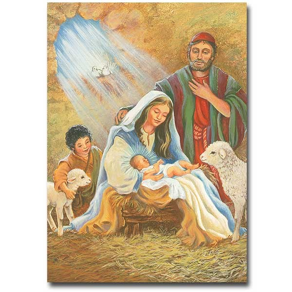 Christmas Card With Nativity Scenes Xmasblor