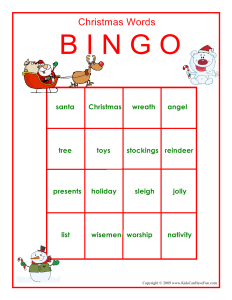 Printable Christmas Bingo Game