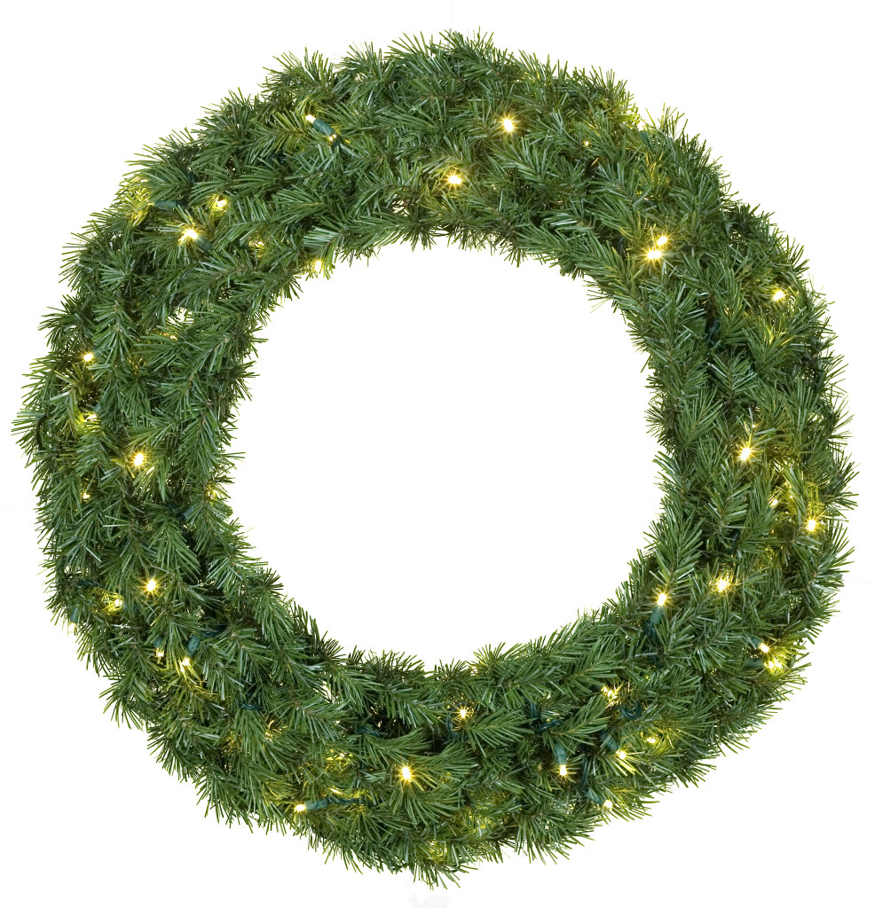 White Light Decorated Christmas wreath