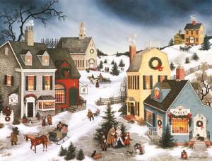 Village Stocks Christmas Card